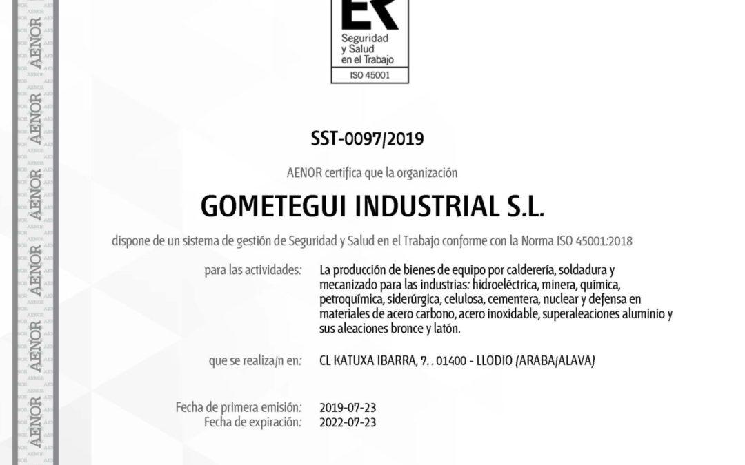 GOMETEGUI OBTIENE EL CERTIFICADO AENOR ISO 45001