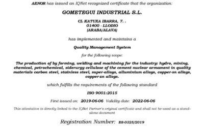 Gometegui Industrial ha completado con éxito la primera auditoría de seguimiento de las normativas AENOR ISO 9001, ISO 14001 e ISO 45001